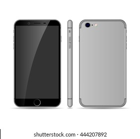High quality realistic smartphone mockup. front, side and back vector cellphone isolated on white background. Cell phone vector illustration. Vector eps 10 smart phone mockup.