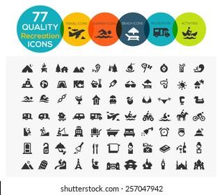 Symbole für hochwertige Freizeit, darunter: Reisen, Strand, Sport, Hotel und Camping