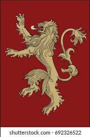 High quality redraw of a Lannister Heraldic Sign. A song of Ice and Fire Great House Heraldry. Game of Thrones heraldic vector sign. Great Houses of Westeros. Vector Heraldry. CMYK. A4 size.