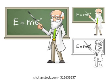 High Quality Scientist Cartoon Character Holding a Pointer Stick Include Flat Design and Line Art Version