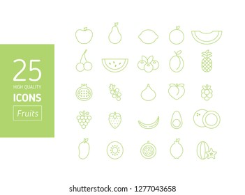 High quality set of Outline stroke Fruit icons