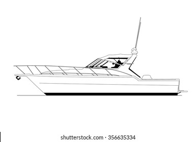 High quality side view line drawing of sea vessel. Black and white art treatment.