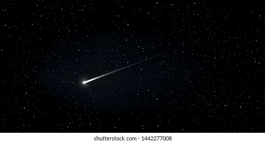 High quality star and comet universe on black background. Astrology horizontal background. Stardust in galaxy. Vector Illustration.