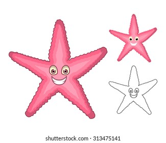 High Quality Starfish Cartoon Character Include Flat Design and Line Art Version