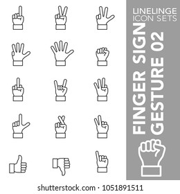 High quality thin line icons of finger sign and hand gesture. Linelinge are the best pictogram pack unique linear design for all dimensions and devices. Stroke vector, logo symbol and website content.