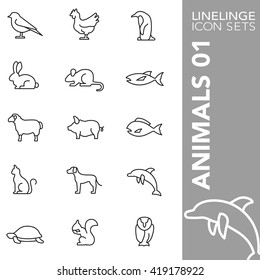 High quality thin line icons of animal, pets and sea life. Linelinge are the best pictogram pack unique linear design for all dimensions and devices. Stroke vector, logo, symbol and website content.