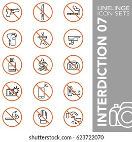 High quality thin line icons of prohibited symbol and no sign. Linelinge are the best pictogram pack unique linear design for all dimensions and devices. Stroke vector logo symbol and website content.