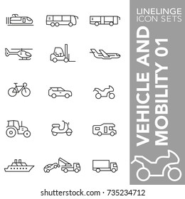 High quality thin line icons of vehicle, automobile and motor. Linelinge are the best pictogram pack unique linear design for all dimensions and devices. Stroke vector logo symbol and website content.