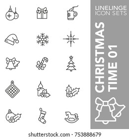 High quality thin line icons of Christmas time and X-mas item. Linelinge are the best pictogram pack unique linear design for all dimensions and devices. Stroke vector logo symbol and website content.