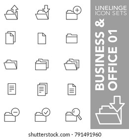 High quality thin line icons of business paper, files, folder. Linelinge are the best pictogram pack unique linear design for all dimensions and devices. Stroke vector logo symbol and website content.