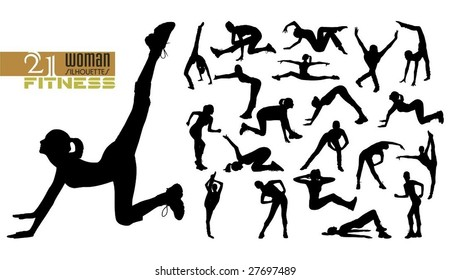 a lot of high quality traced doing fitness woman silhouettes