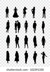 High quality traced posing silhouettes. Vector illustration