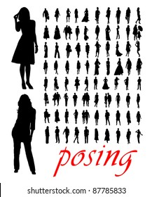 High quality traced posing woman silhouettes. Vector illustration