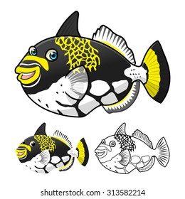 High Quality Trigger Fish Cartoon Character Include Flat Design and Line Art Version