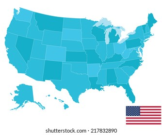 High quality United States map of America with Flag. Each city and border has separately, and can be colored as desired.