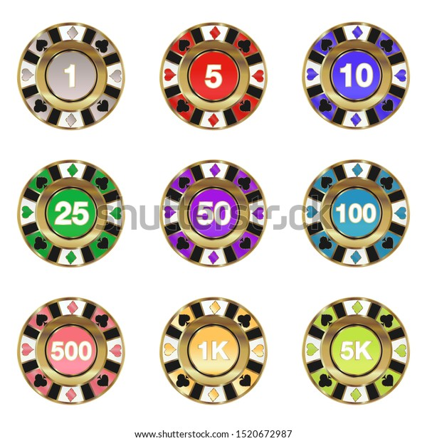 High Quality Vector Collection Poker Chips Stock Vector Royalty