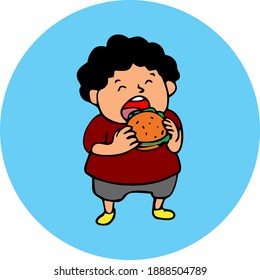 High quality vector fat boy loves to eat burgers