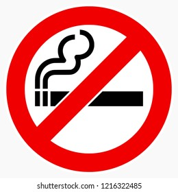 High quality vector illustration of the No smoking sign - Original size and colors, official international version