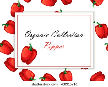 High quality vector illustration of Pepper or paprika label. symbol for sauce product label or grocery store, shop and farm market design. Vector square label. Organic collection