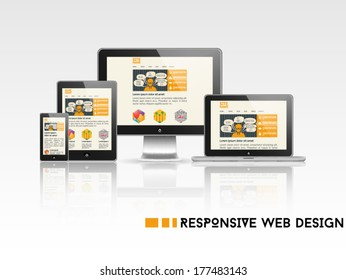High quality vector illustration of responsive web design as seen on desktop monitor, laptop, tablet and smartphone, isolated on white background.