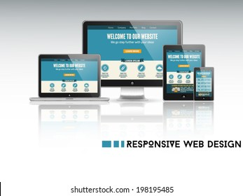 High quality vector illustration of responsive web design as seen on desktop monitor, laptop, tablet and smartphone, isolated on light background.
