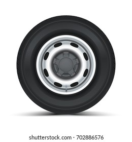High quality vector illustration of typical truck fore wheel, isolated on white background. Tyre for game.