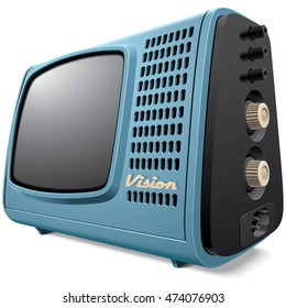 High quality vector image of vintage compact television receiver, isolated on white background. File contains gradients, blends and transparency. No strokes.