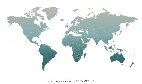 high quality vector infographic of countries world map. detailed countries map of world.