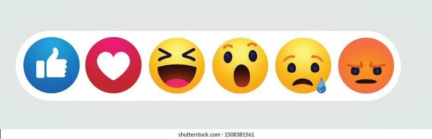 high quality vector round yellow cartoon bubble emoticons comment social media Facebook chat comment reactions, icon template face tear, smile, sad, love, like, Lol, laughter emoji character message