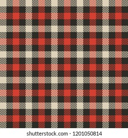 High quality vector seamless pattern of red tartan plaid checkered fabric