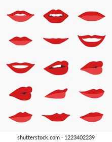 High quality vector set of lips and mouths in different views isolated on white background - graphic elements for your projects