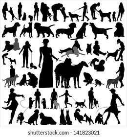 High quality vector silhouettes of people and dogs, for design and polygraphs.