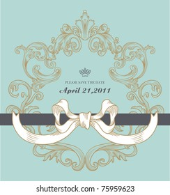 high quality vintage blue card with a cute ribbon - best for wedding invitation card