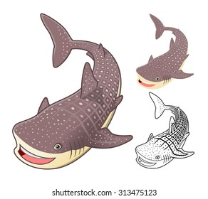High Quality Whale Shark Cartoon Character Include Flat Design and Line Art Version