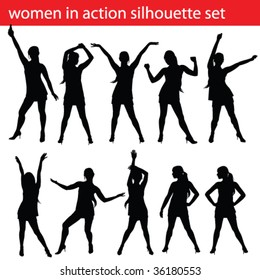 high quality women in action silhouette