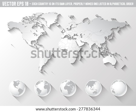 High Quality World Map Tones Grey Stock Vector (Royalty Free ...