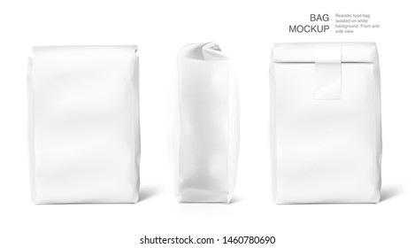 High realistic clean vertical bag mockup with. Front, side, perspective view. Vector illustration isolated on white background. Easy to use for presentation your product, idea, promo, design. EPS10