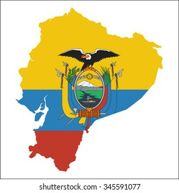 High resolution Ecuador map with country flag. Flag of the Ecuador  overlaid on detailed outline map isolated on white background