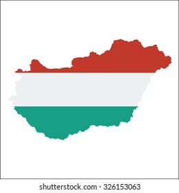 High resolution Hungary map with country flag. Flag of the Hungary  overlaid on detailed outline map isolated on white background