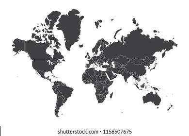 High resolution map of the world split into individual countries.