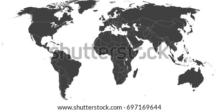 Map Of The World Without Countries.High Resolution Map World Without Antarctica Stock Vector Royalty