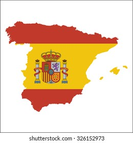 High resolution Spain map with country flag. Flag of the Spain  overlaid on detailed outline map isolated on white background