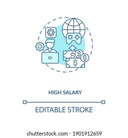 High salary concept icon. Game design industry benefits. Receive lots of cash for high quality job. Working idea thin line illustration. Vector isolated outline RGB color drawing. Editable stroke
