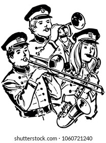 High School Band - Retro Clip Art Illustration