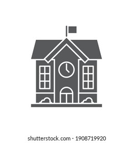 High school building icon, color, line, outline vector sign, linear style pictogram isolated on white. Symbol, logo illustration