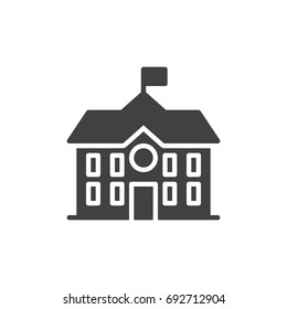 High school building icon vector, filled flat sign, solid pictogram isolated on white. Symbol, logo illustration. Pixel perfect vector graphics
