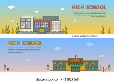 High school building modern outline vector illustration