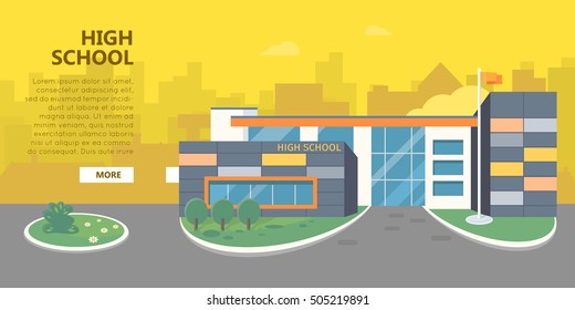 High school building vector illustration. Flat design. Public educational institution. Modern projects of educational establishments. School facade and yard. Front view. College organization