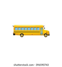 High school bus icon logo. Cartoon illustration of high school bus vector icon isolated on white background