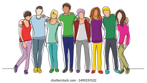 high school class of friends standing together - one line drawing